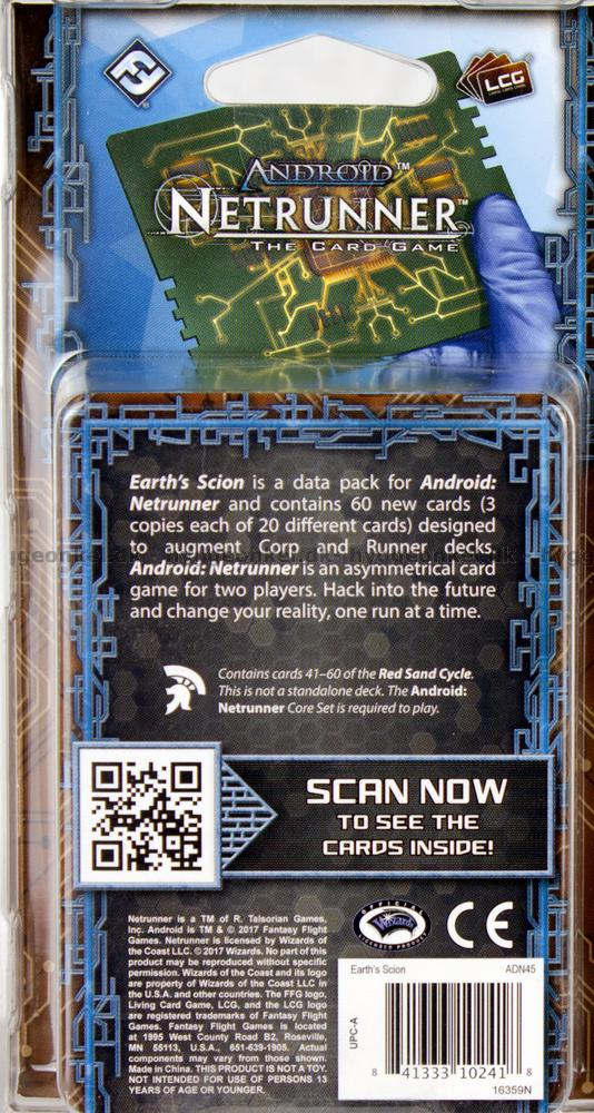 Earths Scion Data Pack Fantasy Flight Games ADN45 Android Netrunner LCG